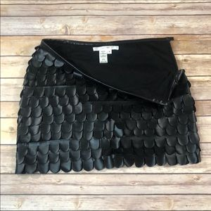 Studio M vegan leather scalp hem tiered skirt